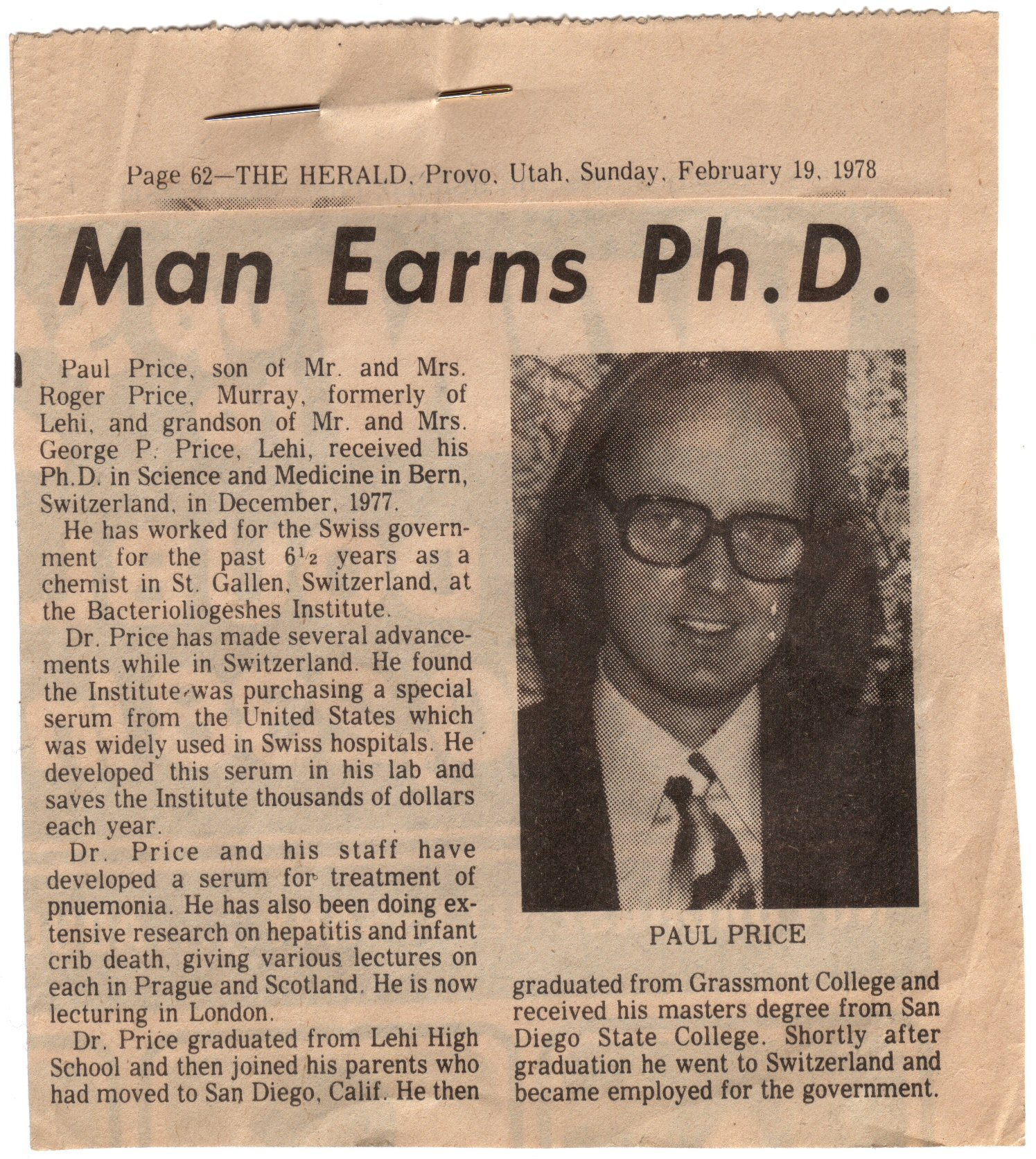 Old Newspaper Clippings Of My Dad Patrick C Price