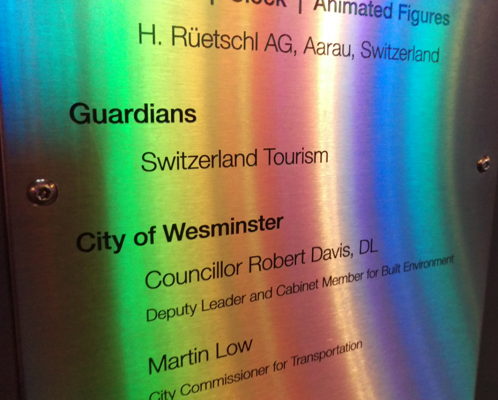 swiss glockenspiel spelling error on plate city of wesminster